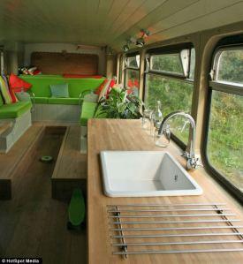 big green bus inside